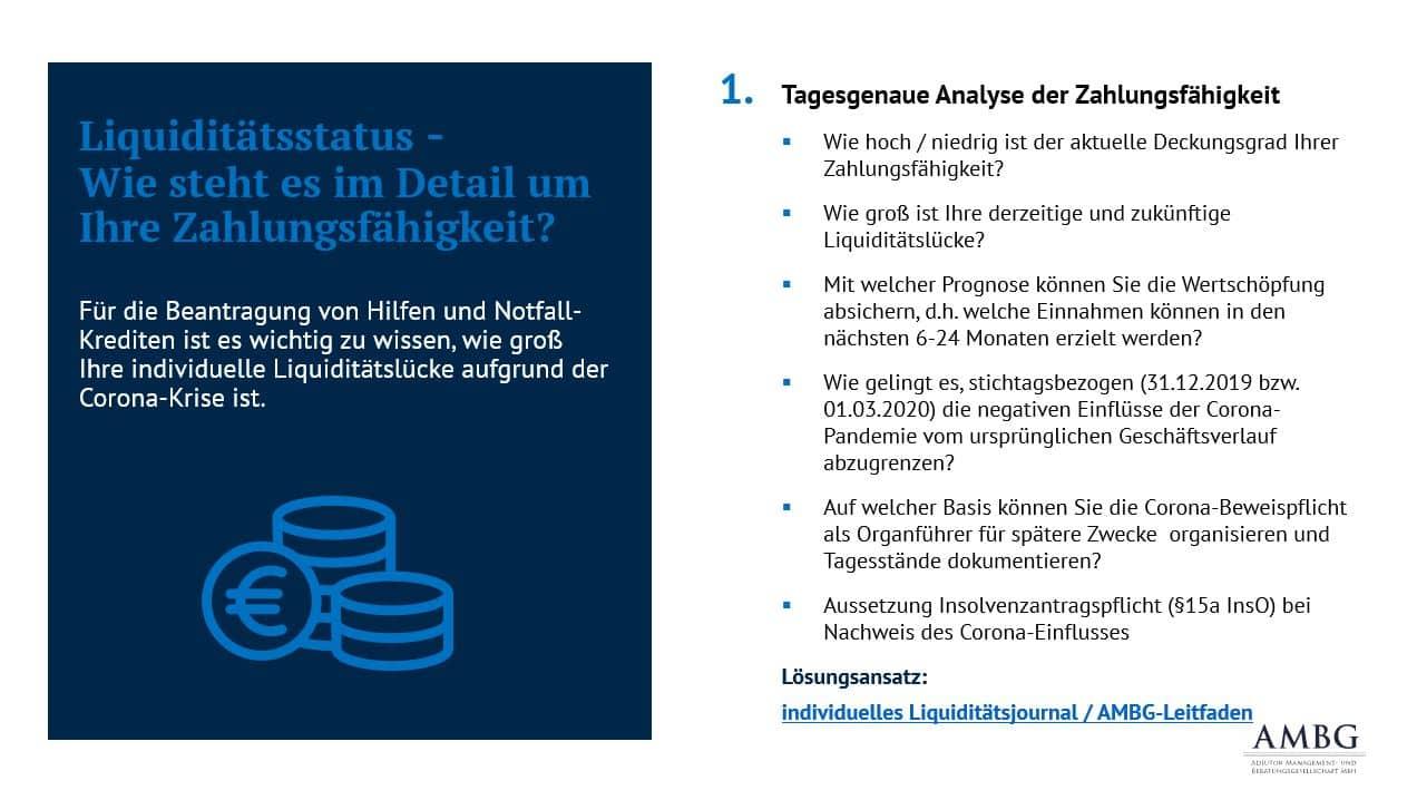Liquiditätstatus - Wie steht es um Ihre tagesgenaue Zahlungsfähigkeit in Ihrem Unternehmen? Das Liquiditätsjournal ist ein Lösungsansatz.