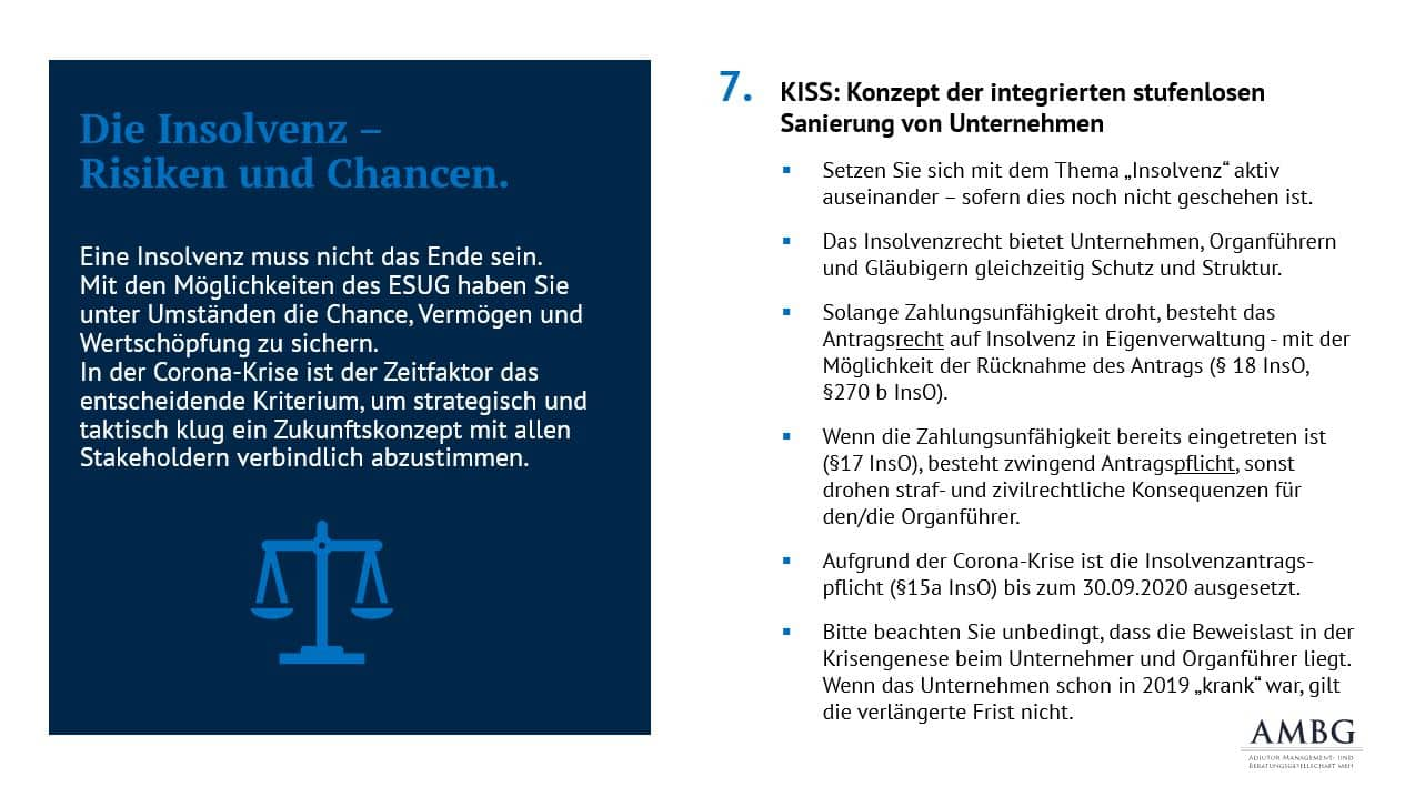Die Insolvenz - Risiken und Chancen: KISS - das Konzept der integrierten stufenlosen Sanierung von Unternehmen